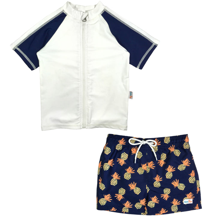 "Boy's Short Sleeve Rash Guard Swimsuit Set & Board Shorts - ""Pineapple Dreams"" - SwimZip Sun Protection Swimwear"