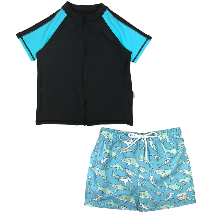 "Boy's Short Sleeve Rash Guard Swimsuit Set & Board Shorts - ""Deep Blue Sharks"""
