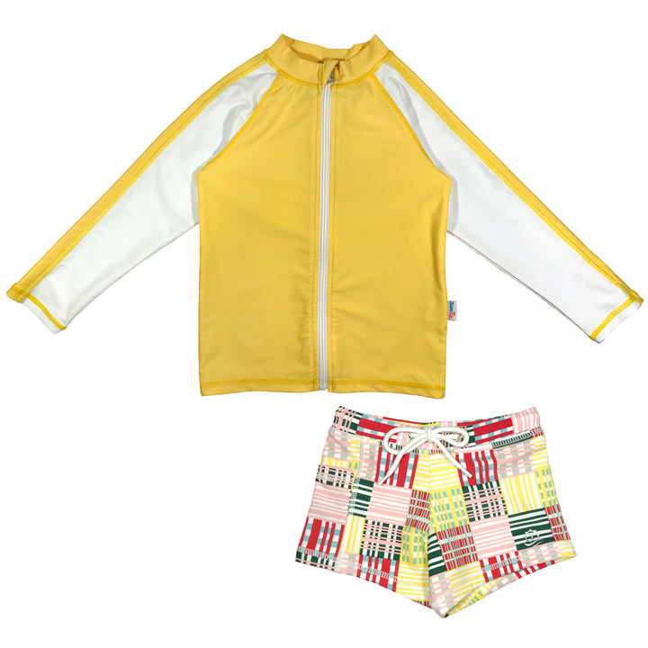 "Kid's Long Sleeve Rash + Euro Shorties Rash Guard Set | ""Madras"" - SwimZip Sun Protection Swimwear"