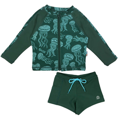 "Little Boy Long Sleeve Rash + Euro Shorties Rash Guard Set | ""Jelly Jellyfish"""