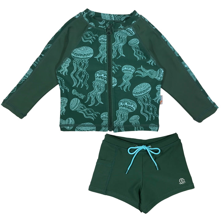 "Kid's Long Sleeve Rash + Euro Shorties Rash Guard Set | ""Jelly Jellyfish"""