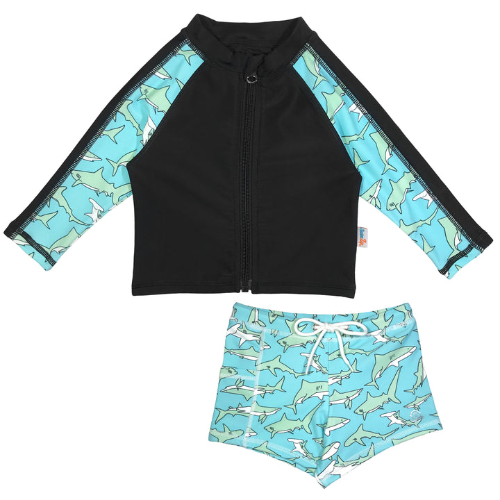 "Little Boy Long Sleeve Rash + Euro Shorties Rash Guard Set | ""Deep Blue Shark"""