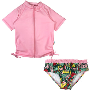 "Girl's Short Sleeve Rash Guard Swimsuit Set (2 Piece) - ""Butterfly Love"" - SwimZip Sun Protection Swimwear"