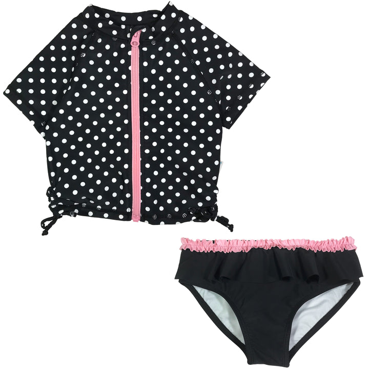 "Girl's Short Sleeve Rash Guard Swimsuit Set (2 Piece) - ""Black Polka Dot"" - SwimZip Sun Protection Swimwear"
