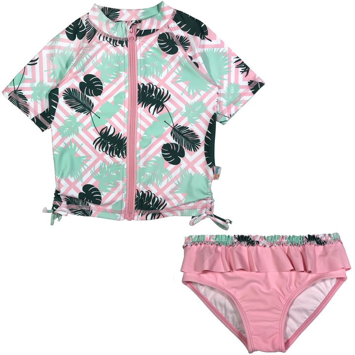"Girl's Short Sleeve Rash Guard Swimsuit Set (2 Piece) - ""Palm Breeze"" - SwimZip Sun Protection Swimwear"