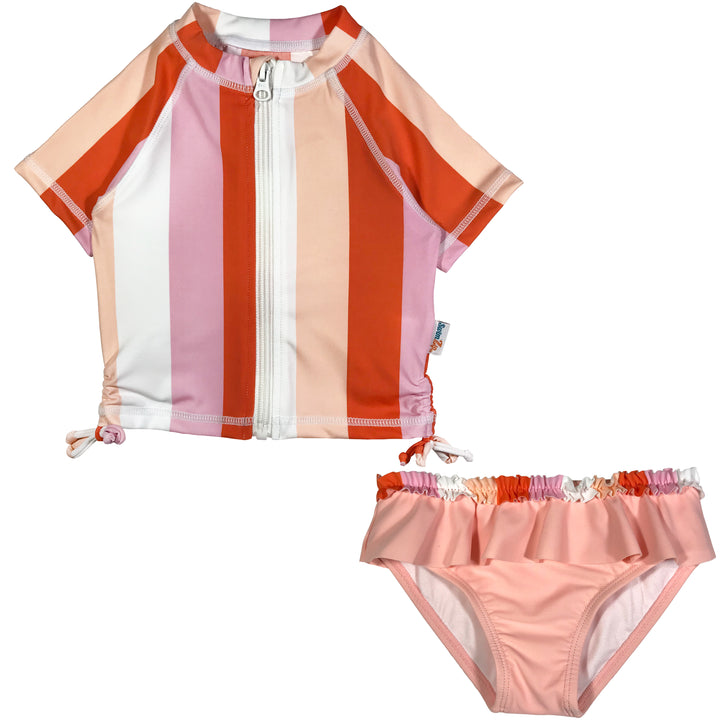 "Girl's Short Sleeve Rash Guard Swimsuit Set (2 Piece) - ""Peachy Stripe"" - SwimZip Sun Protection Swimwear"
