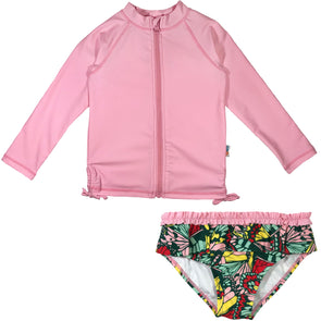 girl long sleeve rash guard swimsuit set upf 50+ pink butterly