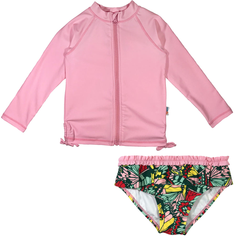 "Baby Girl Long Sleeve Zipper Rash Guard Swimsuit Set (2 Piece) UPF 50+ |""Butterfly Love"" - SwimZip Sun Protection Swimwear"