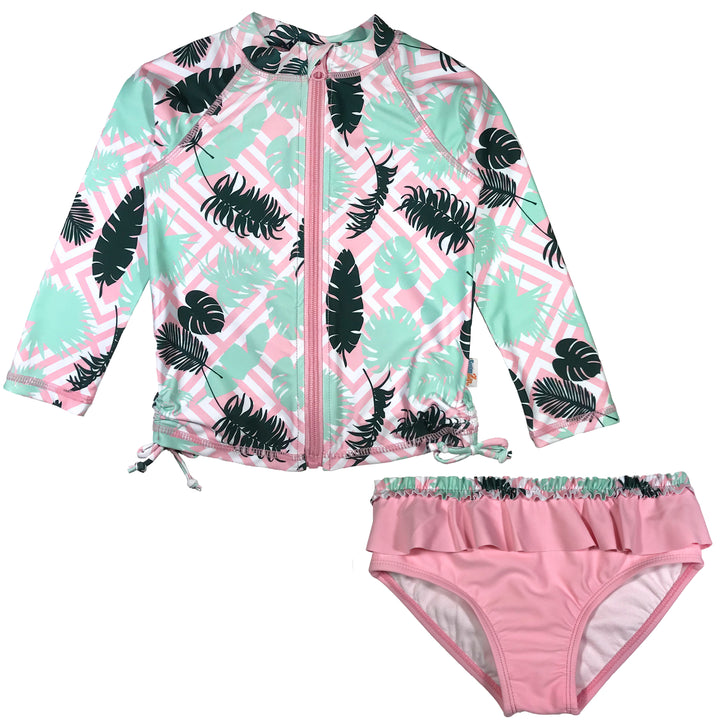 "Baby Girl Long Sleeve Zipper Rash Guard Swimsuit Set (2 Piece) UPF 50+ | ""Palm"" - SwimZip Sun Protection Swimwear"