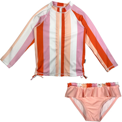 girl long sleeve rash guard set stripe zipper swimzip pink
