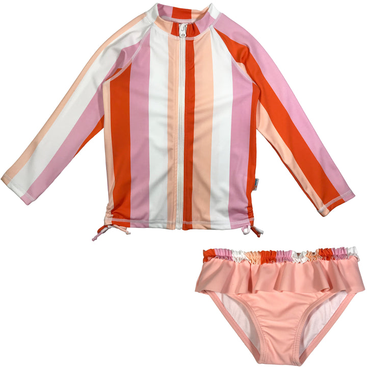 "Girl Long Sleeve Zipper Rash Guard Swimsuit Set (2 Piece) UPF 50+ | ""Peachy Stripe"" - SwimZip Sun Protection Swimwear"
