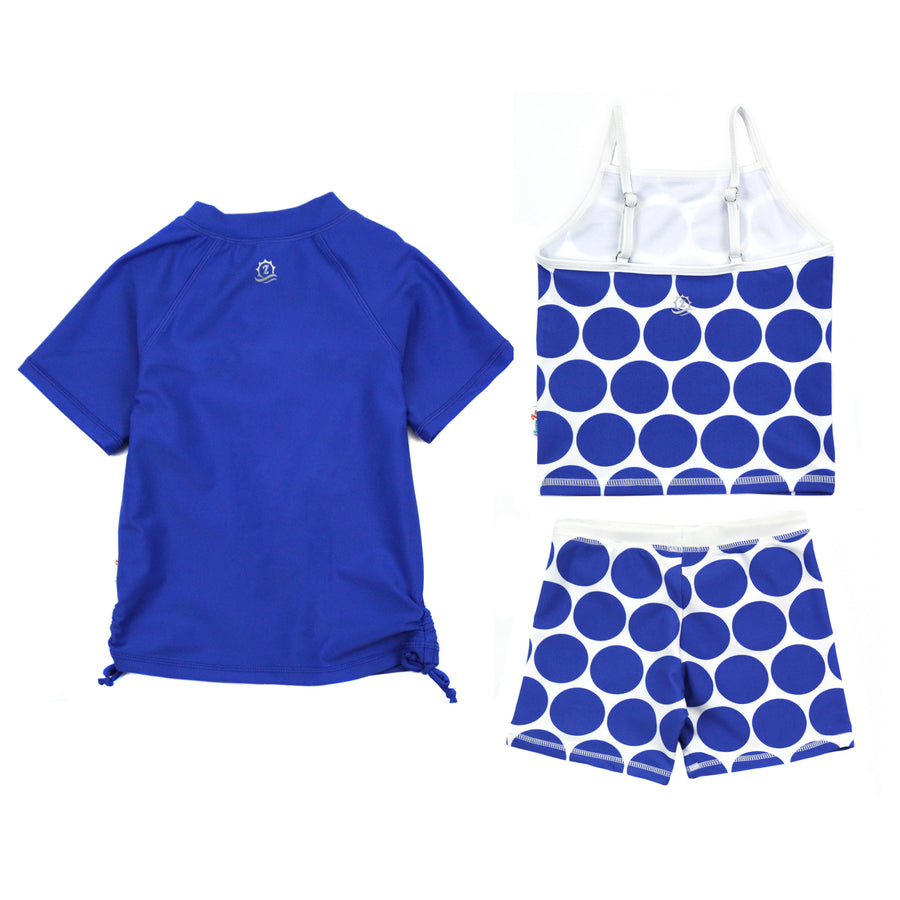 "Girl Short Sleeve Rash Guard Shorts Set Tankini Top - 3 Piece | ""Oversized Dot"" - SwimZip Sun Protection Swimwear"