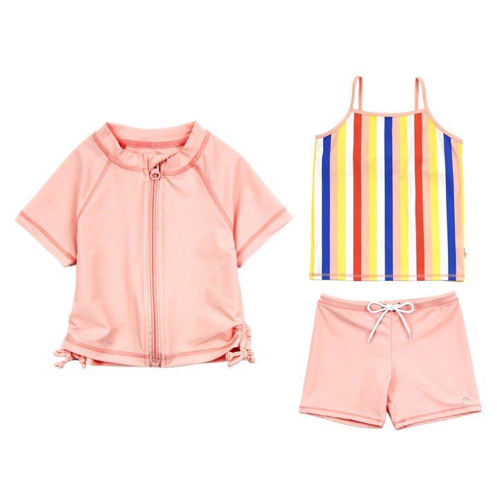 "Girl's Short Sleeve Rash Guard Shorts Set Tankini Top - 3 Piece | ""Multi Stripe"" - SwimZip Sun Protection Swimwear"