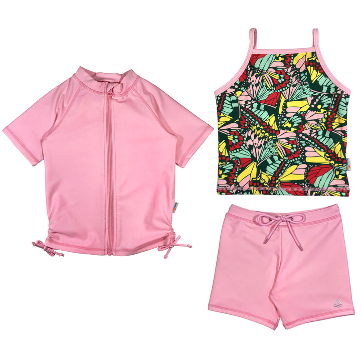 "Girl's Short Sleeve Rash Guard Shorts Set Tankini Top (3 Piece) - ""Butterfly Love"" - SwimZip Sun Protection Swimwear"