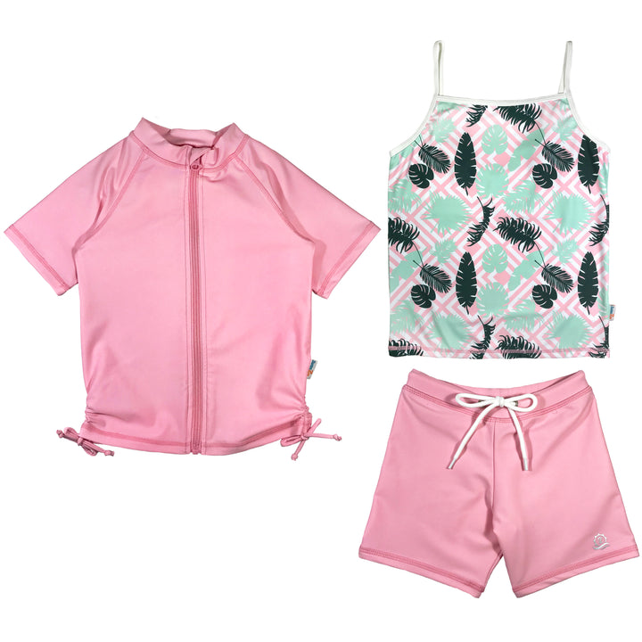 "Girl's Short Sleeve Rash Guard Shorts Set Tankini Top (3 Piece) - ""Palm Breeze"" - SwimZip Sun Protection Swimwear"