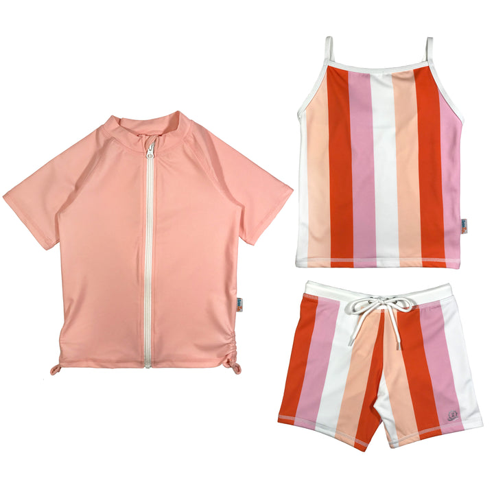 Girl's Short Sleeve Rash Guard Shorts Set Tankini Top (3 Piece) - Peachy Stripes - SwimZip Sun Protection Swimwear