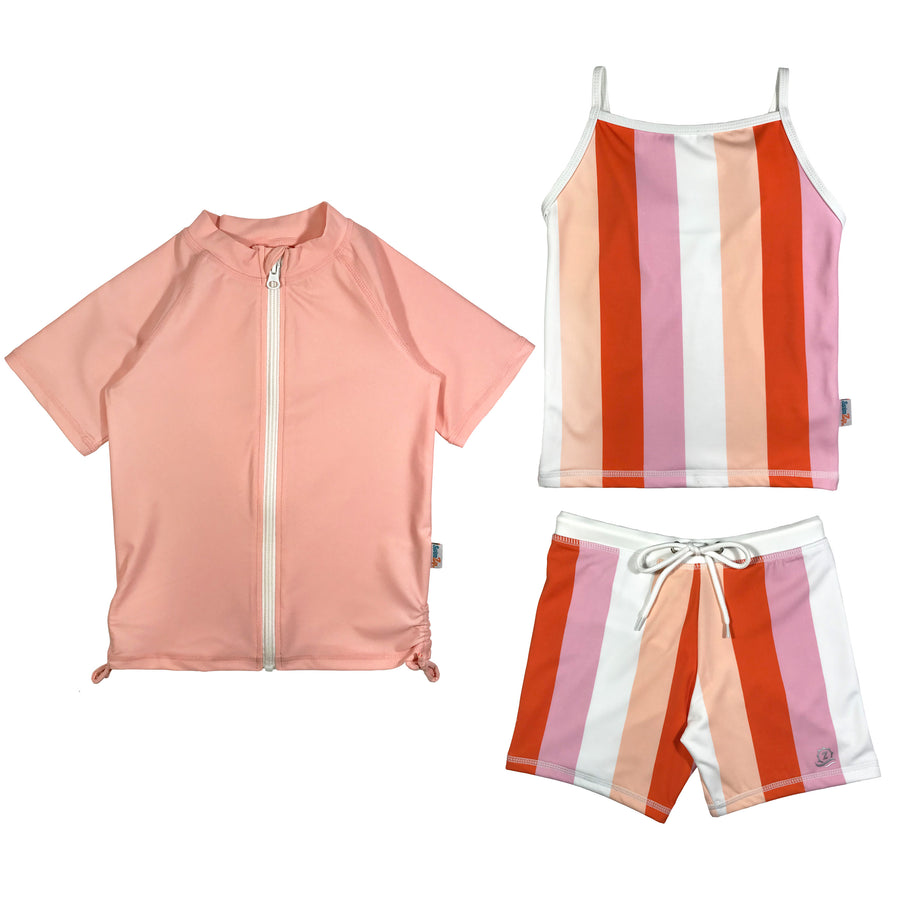 Girl's Short Sleeve Rash Guard Shorts Set Tankini Top (3 Piece) - Peachy Stripes