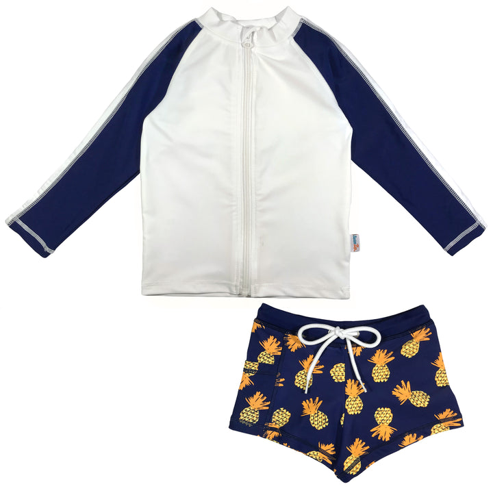 "Kid's Long Sleeve Rash + Euro Shorties Rash Guard Set | ""Pineapple Dreams"" - SwimZip Sun Protection Swimwear"