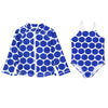 "Girl One-Piece Swimsuit and Long Sleeve Rash Guard Set UPF 50+ | ""Oversized Dot"""