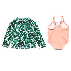 "Girl One-Piece Swimsuit and Long Sleeve Rash Guard Set UPF 50+ | ""Palm Leaf"" - SwimZip Sun Protection Swimwear"