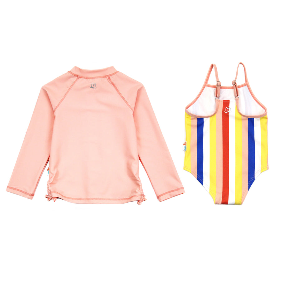 "Girls' One-Piece Swimsuit & Long Sleeve Rash Guard Set - ""Multi Stripe""-SwimZip UPF 50+ Sun Protective Swimwear & UV Zipper Rash Guards-pos4"