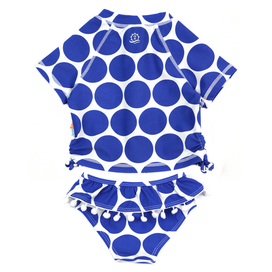 "Girl Short Sleeve Rash Guard Swimsuit Set (2 Piece) UPF 50+ | ""Oversized Dot"""
