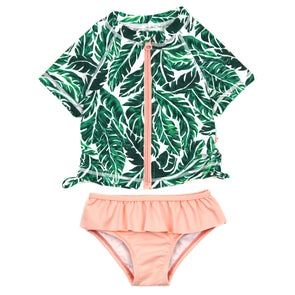 "Girl Short Sleeve Rash Guard Swimsuit Set (2 Piece) UPF 50+ | ""Palm leaf"""
