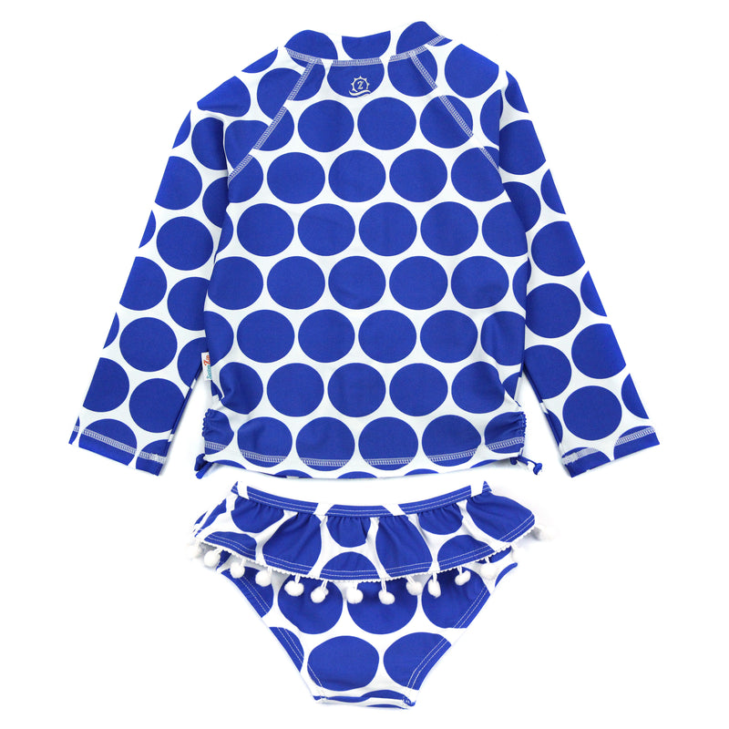 "Little Girl Long Sleeve Rash Guard Swimsuit Set (2 Piece) | ""Oversized Dot""-SwimZip UPF 50+ Sun Protective Swimwear & UV Zipper Rash Guards-pos3"
