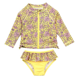 "Little Girl Long Sleeve Rash Guard Swimsuit Set (2 Piece) | ""Ditsy Floral"""