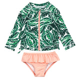 "Little Girl Long Sleeve Rash Guard Swimsuit Set (2 Piece) | ""Palm Leaf""-6-12 Month-Palm Leaf-SwimZip UPF 50+ Sun Protective Swimwear & UV Zipper Rash Guards-pos1"