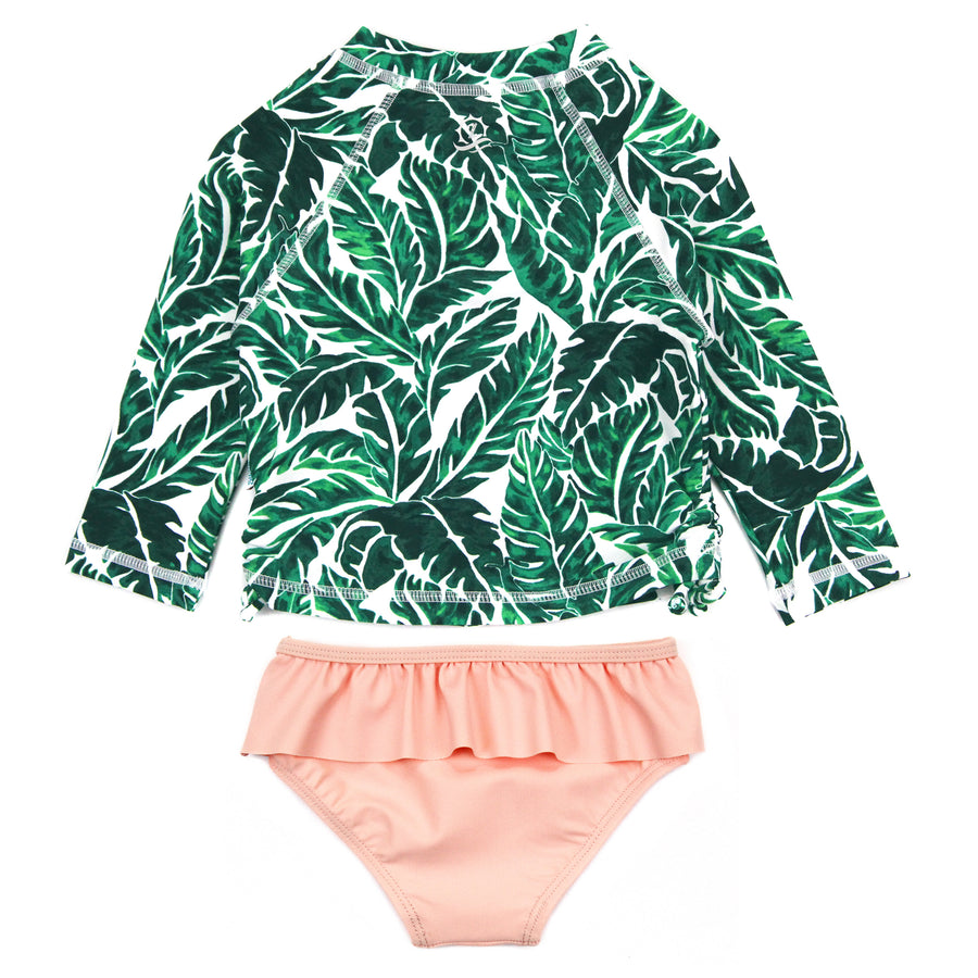 "Little Girl Long Sleeve Rash Guard Swimsuit Set (2 Piece) | ""Palm Leaf"" - SwimZip Sun Protection Swimwear"