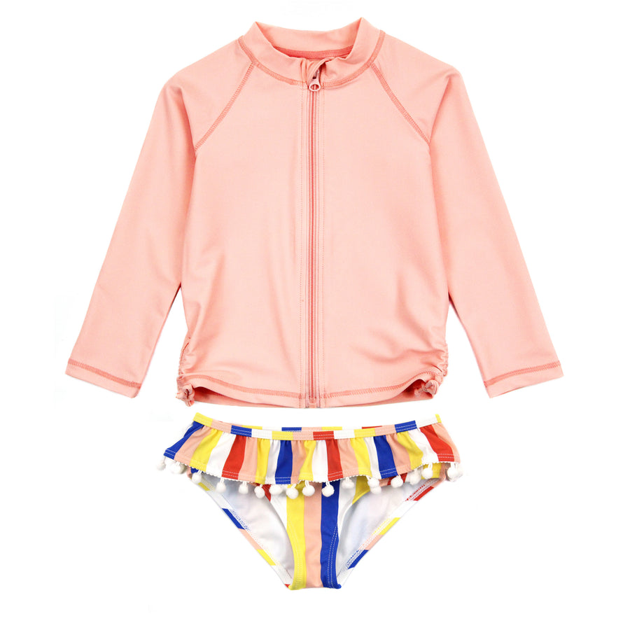 "Little Girl Long Sleeve Rash Guard Swimsuit Set (2 Piece) | ""Multi Stripe""-6-12 Month-Multi Stripe-SwimZip UPF 50+ Sun Protective Swimwear & UV Zipper Rash Guards-pos1"