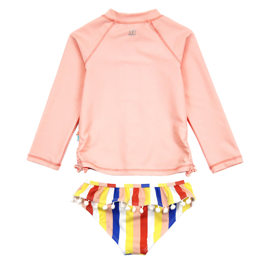 "Little Girl Long Sleeve Rash Guard Swimsuit Set (2 Piece) | ""Multi Stripe"" - SwimZip Sun Protection Swimwear"