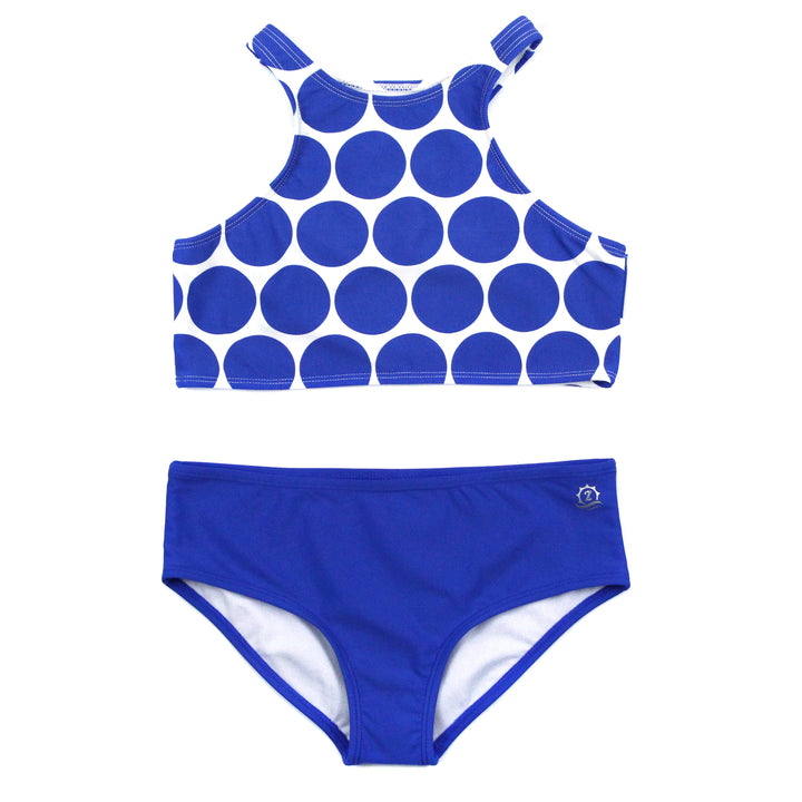 "Little Girl Halter (2 Piece) | ""Oversized Dot"" - SwimZip Sun Protection Swimwear"