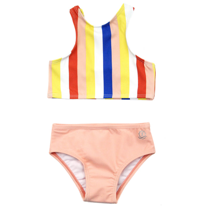 "Girl's Halter Top Set (2 Piece) | ""Multi Stripe"" - SwimZip Sun Protection Swimwear"