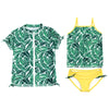 Big Girl Zipper Short Sleeve Rash Guard Swimsuit Set UPF 50+ with Tankini | Palm Leaf