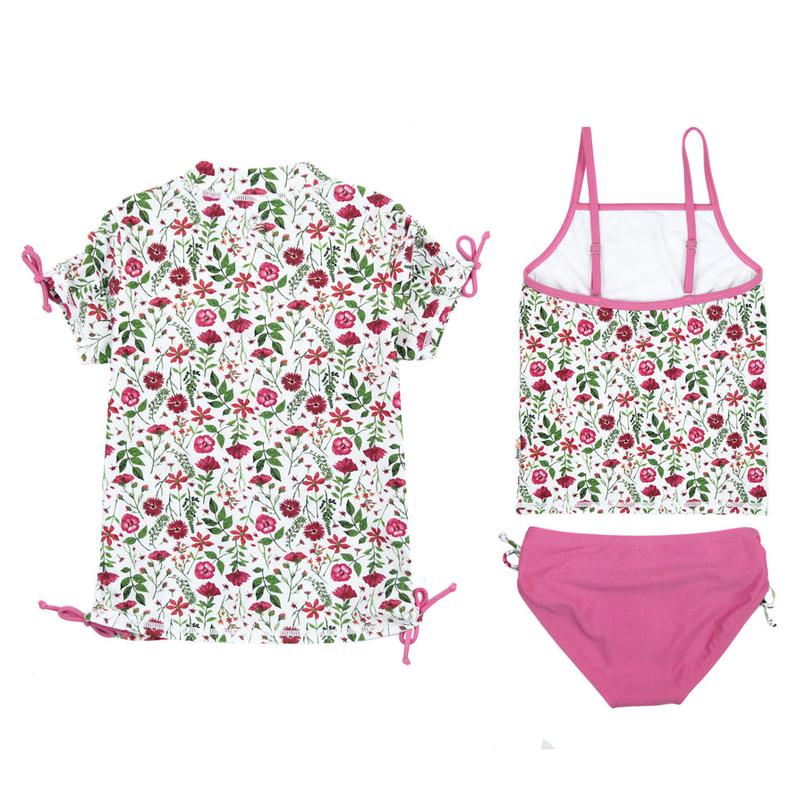 "Girl's Short Sleeve Rash Guard with Tankini + Bikini Bottoms Set (3 Piece) - ""Floral Garden""-SwimZip UPF 50+ Sun Protective Swimwear & UV Zipper Rash Guards-pos3"