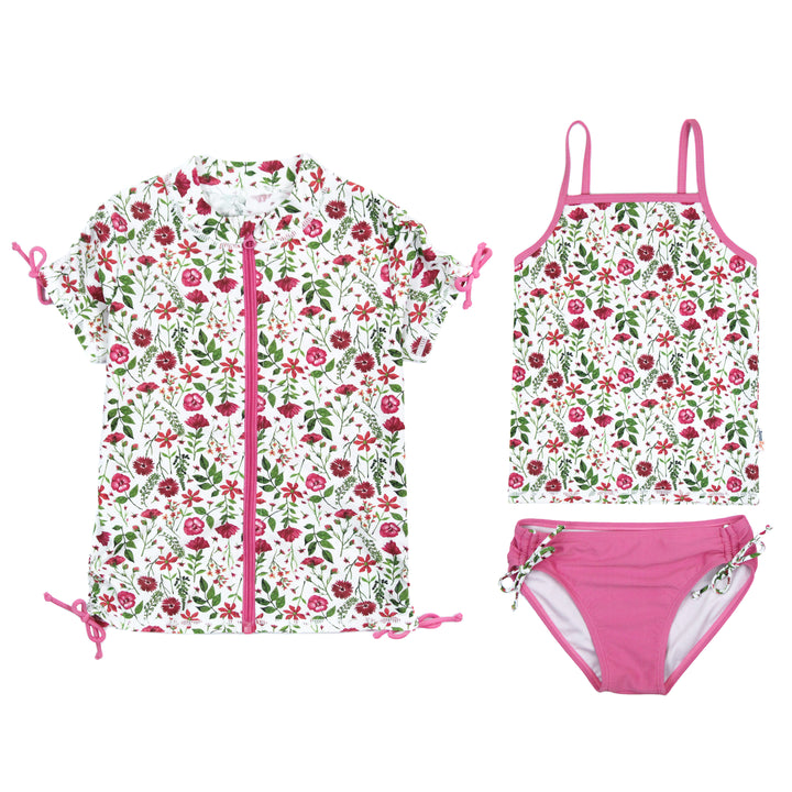 "Girl's Short Sleeve Rash Guard with Tankini + Bikini Bottoms Set (3 Piece) - ""Floral Garden"" - SwimZip Sun Protection Swimwear"