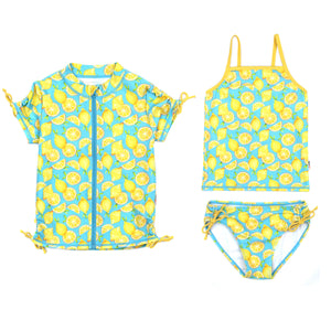 "Girl's Short Sleeve Rash Guard with Tankini + Bikini Bottoms Set (3 Piece) - ""Lemons""-6-8-Lemons-SwimZip UPF 50+ Sun Protective Swimwear & UV Zipper Rash Guards-pos1"