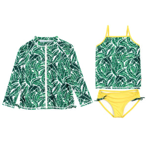 Big Girl Zipper Long Sleeve Rash Guard Swimsuit Set UPF 50+ with Tankini | Palm Leaf
