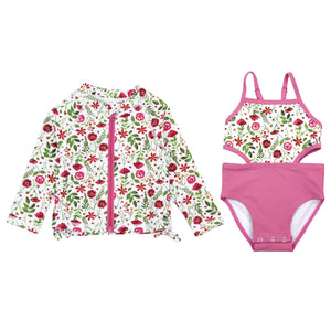 "Girl's One-Piece Cut Out Swimsuit and Long Sleeve Rash Guard Set - ""Floral Garden"" - SwimZip Sun Protection Swimwear"