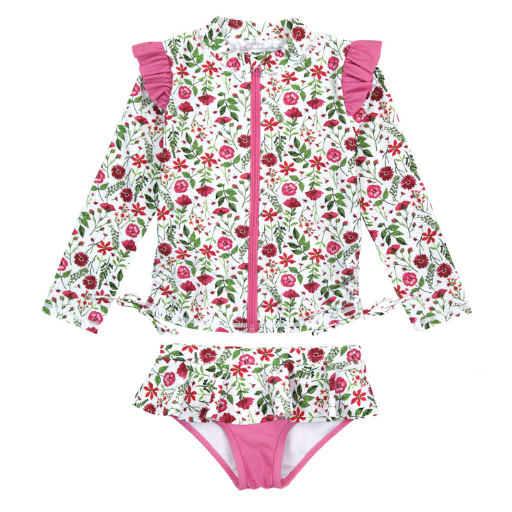 "Girl's Long Sleeve Rash Guard Ruffle Swimsuit Set (2 Piece) - ""Floral Garden"" - SwimZip Sun Protection Swimwear"