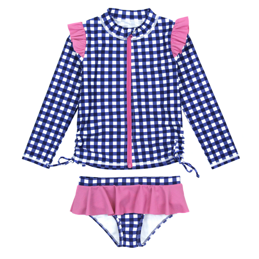 "Girl's Long Sleeve Rash Guard Ruffle Swimsuit Set (2 Piece) - ""Navy Gingham"" - SwimZip Sun Protection Swimwear"