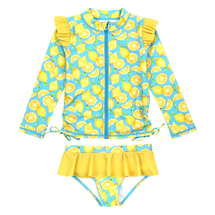 "Girl's Long Sleeve Rash Guard Ruffle Swimsuit Set (2 Piece) - ""Lemons"" - SwimZip Sun Protection Swimwear"
