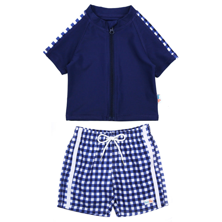 "Boy's Short Sleeve Rash Guard and Swim Trunk Set - ""Navy Gingham"" - SwimZip Sun Protection Swimwear"
