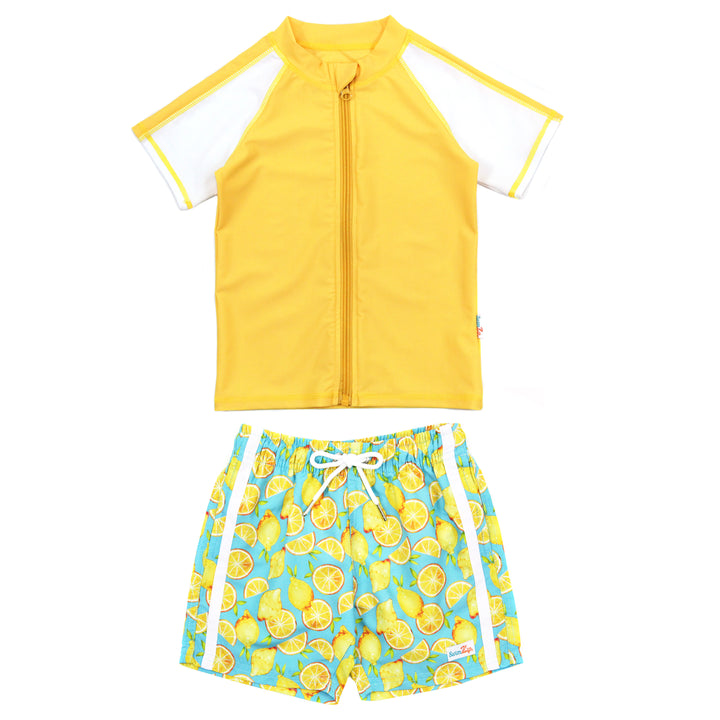 "Boy's Short Sleeve Rash Guard and Swim Trunk Set - ""Lemons"" - SwimZip Sun Protection Swimwear"