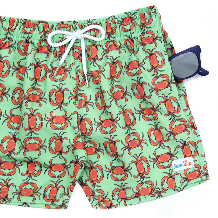 "Boy's Long Sleeve Rash Guard and Swim Trunk Set - ""Don't Be a Crab"" - SwimZip Sun Protection Swimwear"