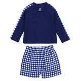 "Boy's Long Sleeve Rash Guard and Swim Trunk Set - ""Navy Gingham""-SwimZip UPF 50+ Sun Protective Swimwear & UV Zipper Rash Guards-pos3"