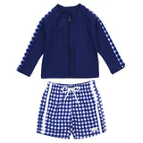 "Boy's Long Sleeve Rash Guard and Swim Trunk Set - ""Navy Gingham""-6-12 Month-Navy Gingham-SwimZip UPF 50+ Sun Protective Swimwear & UV Zipper Rash Guards-pos1"