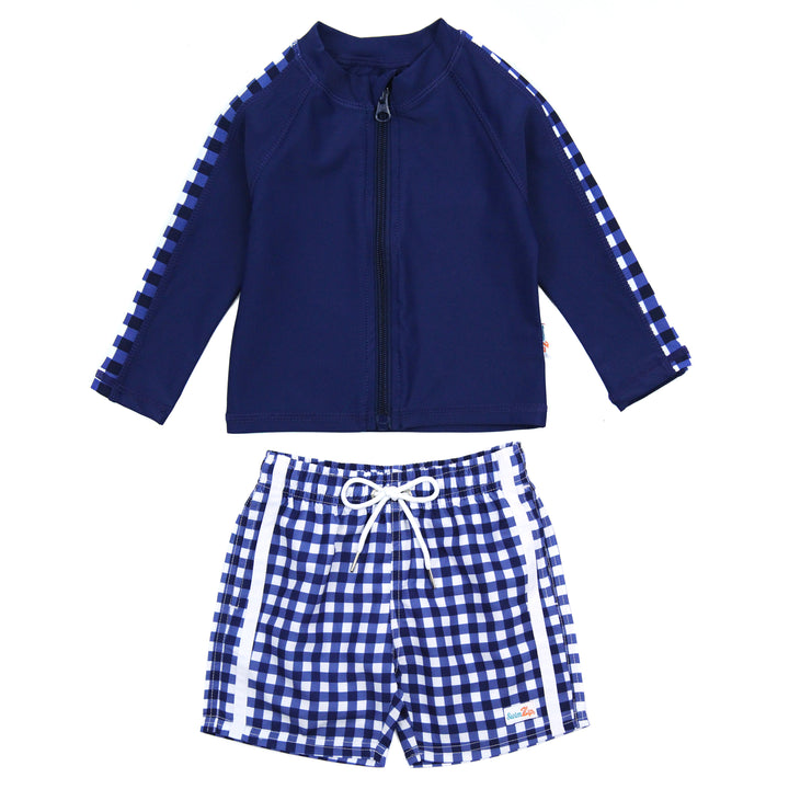 "Boy's Long Sleeve Rash Guard and Swim Trunk Set - ""Navy Gingham"" - SwimZip Sun Protection Swimwear"